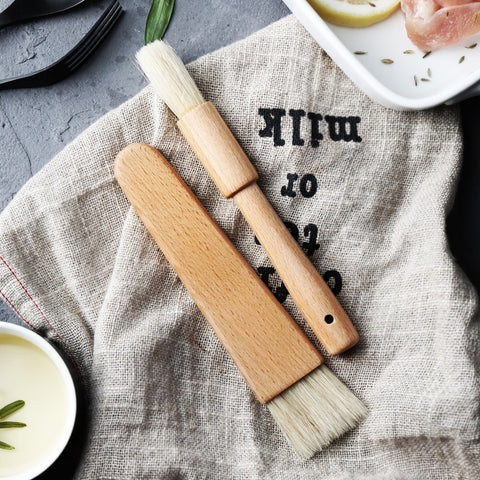 2Pcs Wood Handle Pastry Brushes Baking Barbecue Basting Brush Natural Bristle Oil Butter Brush BBQ