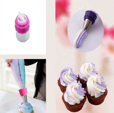 2pcs Bicolor Double Color Tube Converter Tip Nozzles Adaptor Cream Bag Fondant Cake Mold Baking