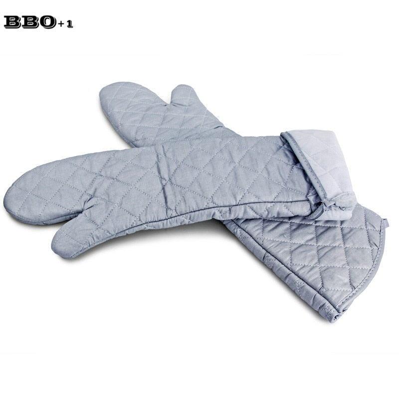 2pcs Super Long Cotton Oven Gloves Heat Resistant Kitchen Glove Oven Mitts 23inch Barbecue Baking