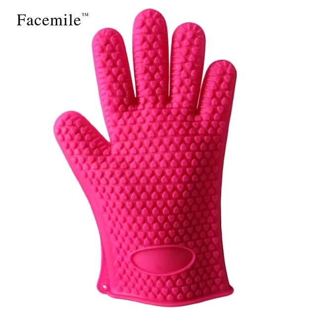 2pcs/pair Silicone Glove Kitchen Heat Resistant Gloves Temperature Resistant Gloves Cooking Baking