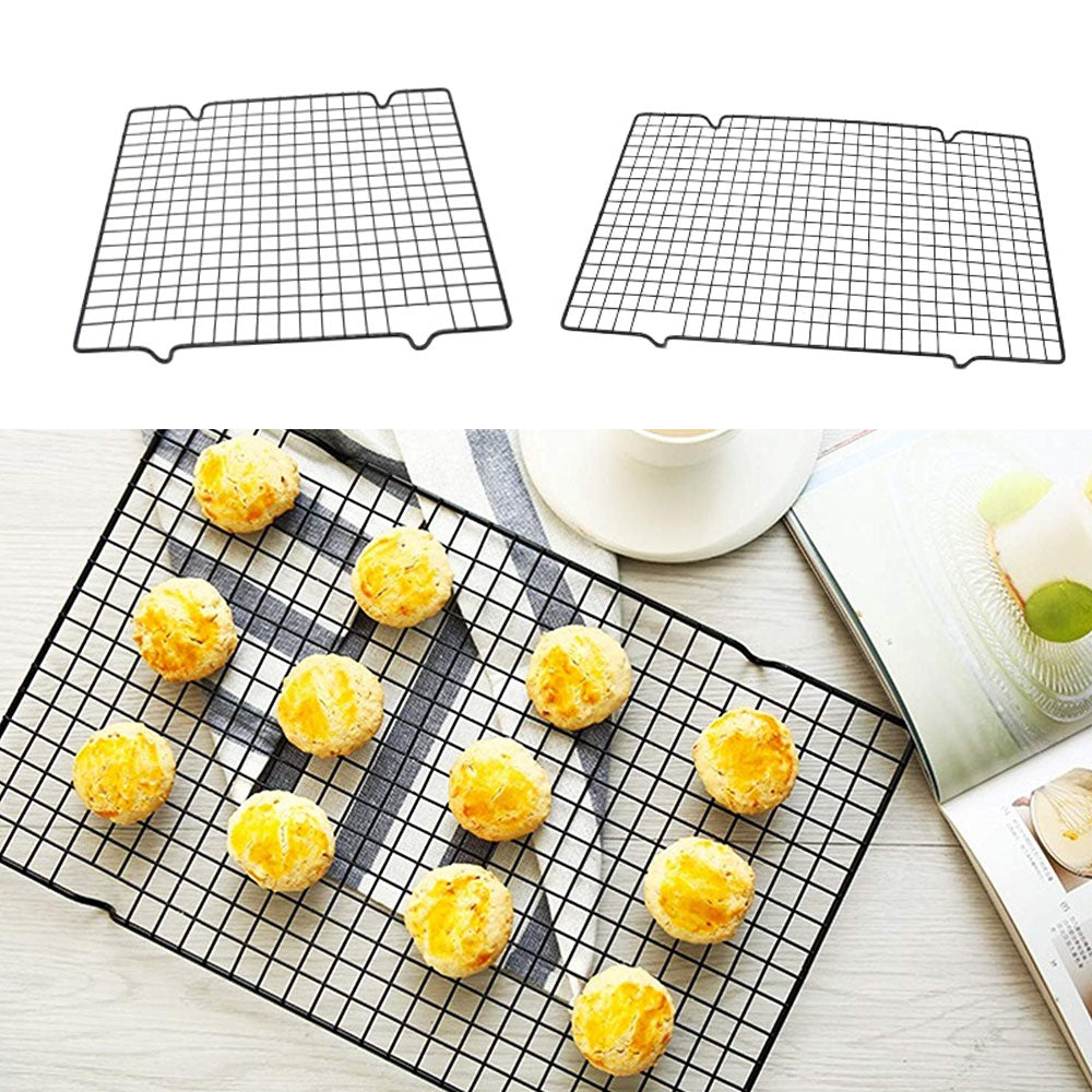 2pcs/set Nonstick Metal Cake Cooling Rack Grid Net Baking Tray Cookies Biscuits Bread Drying Stand
