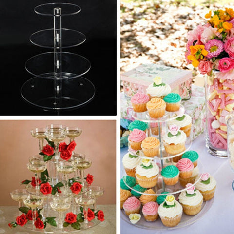 3/4 Tier Clear Acrylic Cake Stand Set Round Cupcake Stand Holder Wedding Birthday Party Cup Cake