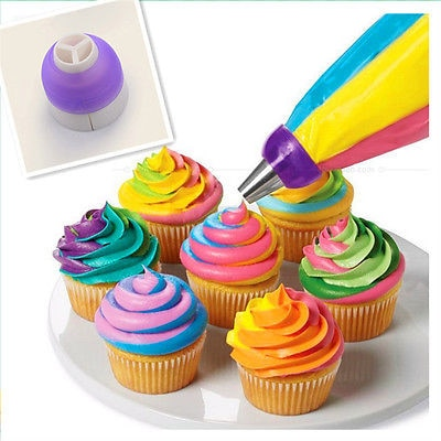 3 Color Cake Decorating Tools Icing Piping Cake Cream Pastry Bag Nozzle Converter Bakeware Tool