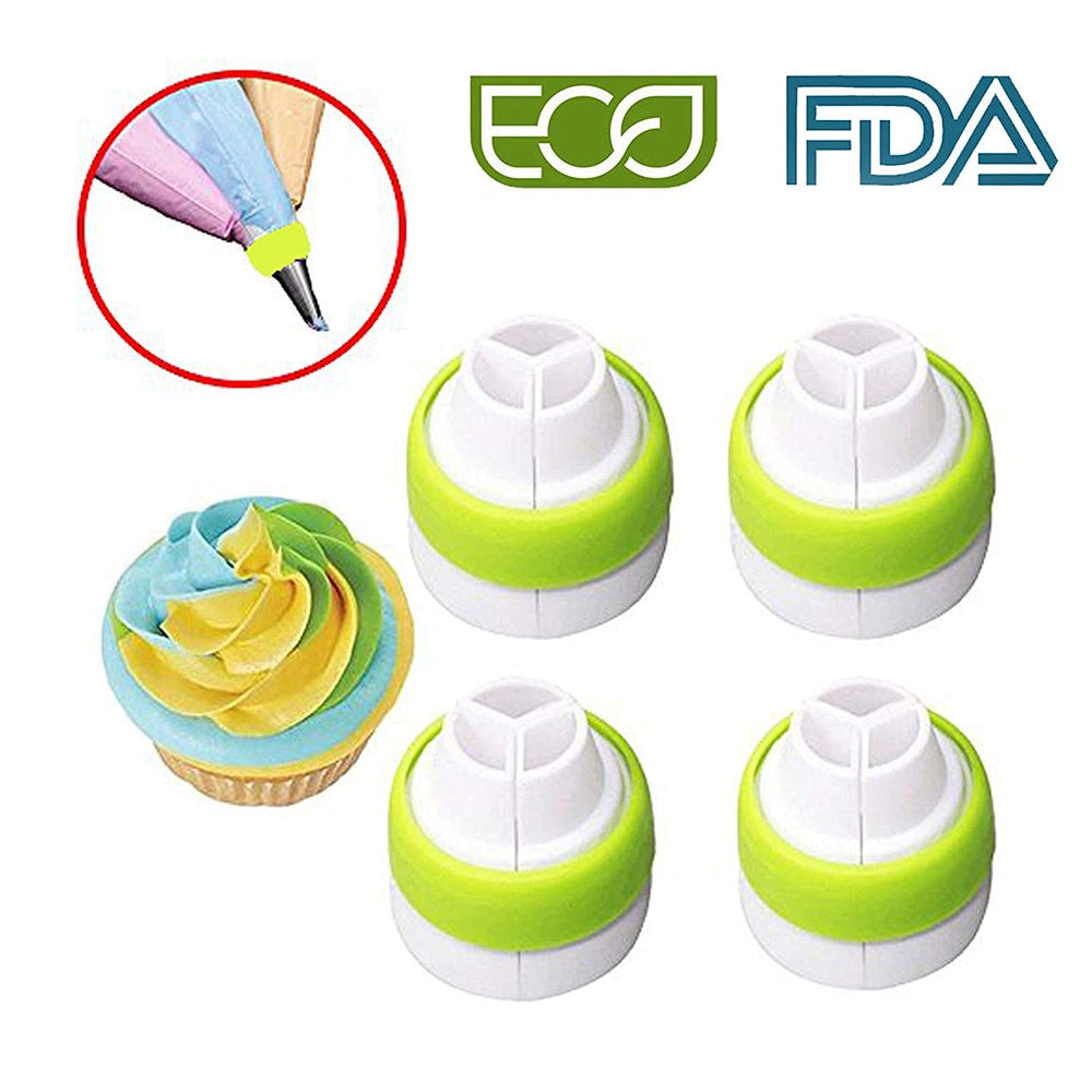 3 Holes 3 Colors Icing Piping Nozzles Converter Pastry Nozzles Cream Coupler Cake Decorating Tools