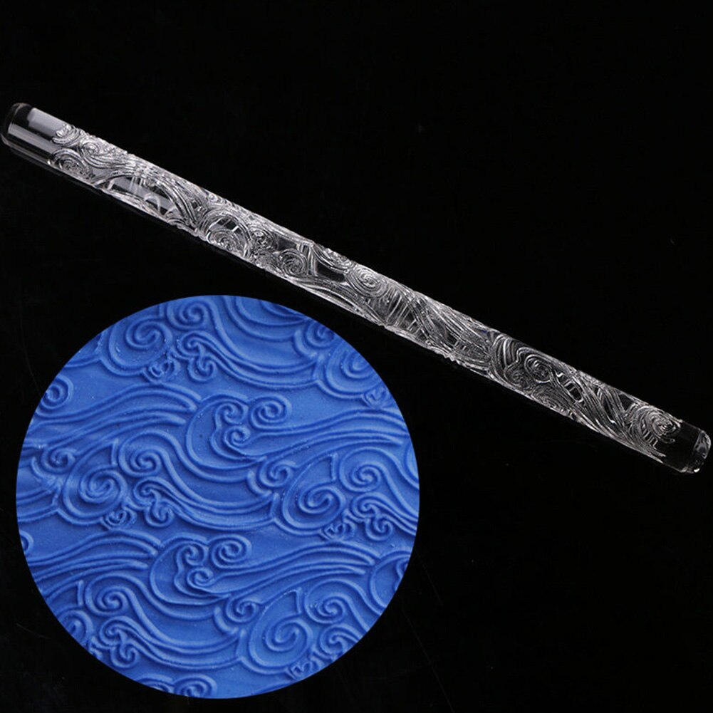 3 Styles Transparent Textured Acrylic Rolling Pin Fondant Sugarcraft Cake Decoration Mold Flower