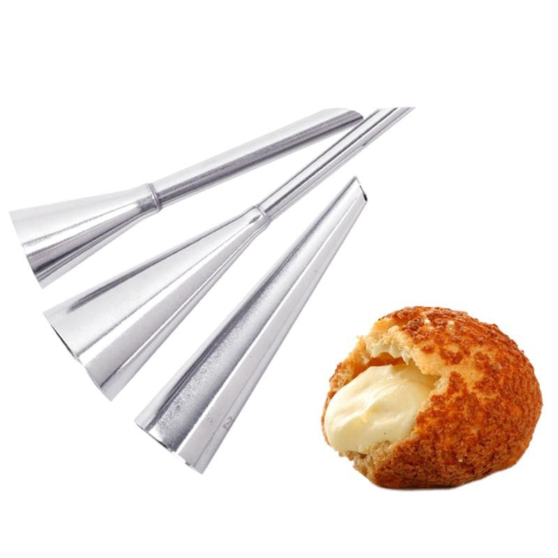 3 pcs Cake Piping Nozzles High Quality Stainless Steel Cream Puffs Decorating Baking Tool Bakeware