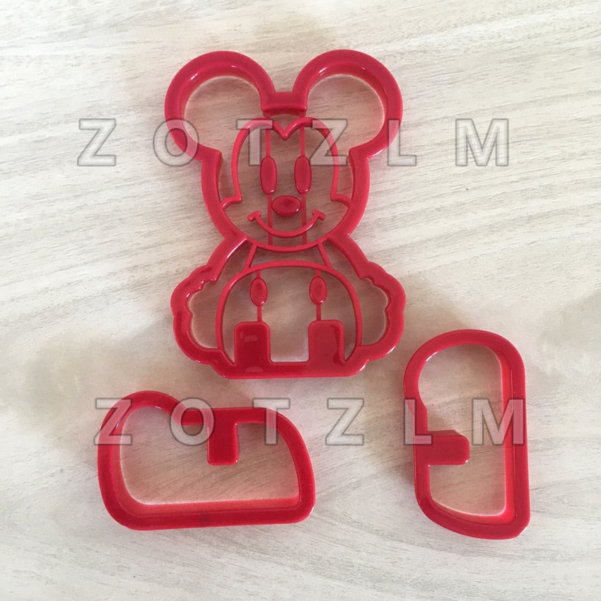 3 pcs/set Cute Cartoon 3D Mouse Plastic Stereoscopic Cookie Cutters Pastry Sandwich Toast Biscuit