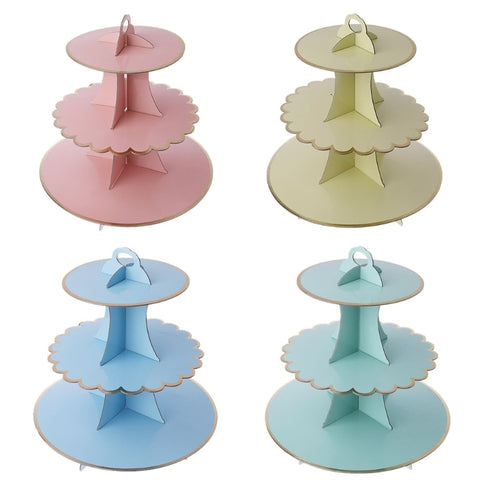 3-tier Cake Stand cupcake Cardboard Baby Shower Kids Birthday Wedding Party Decoration