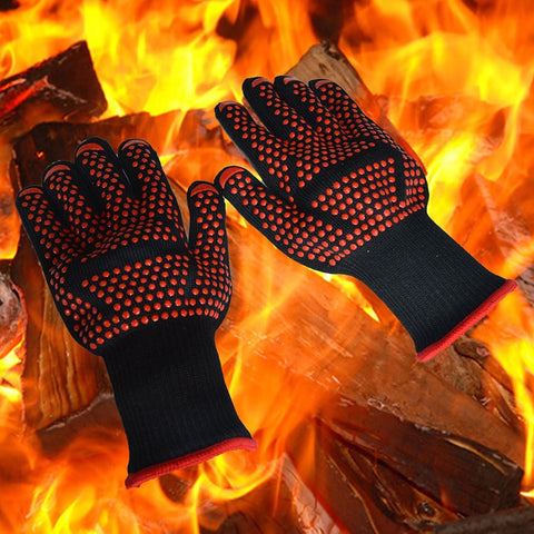 300-500 Centigrade Extreme Heat Resistant BBQ Gloves - Lining Cotton - For Cooking Baking Grilling