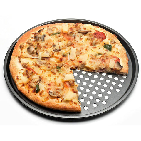 32cm Carbon Steel Nonstick Pizza Baking Pan Tray Pizza Plate Dishes Holder Bakeware Home Kitchen