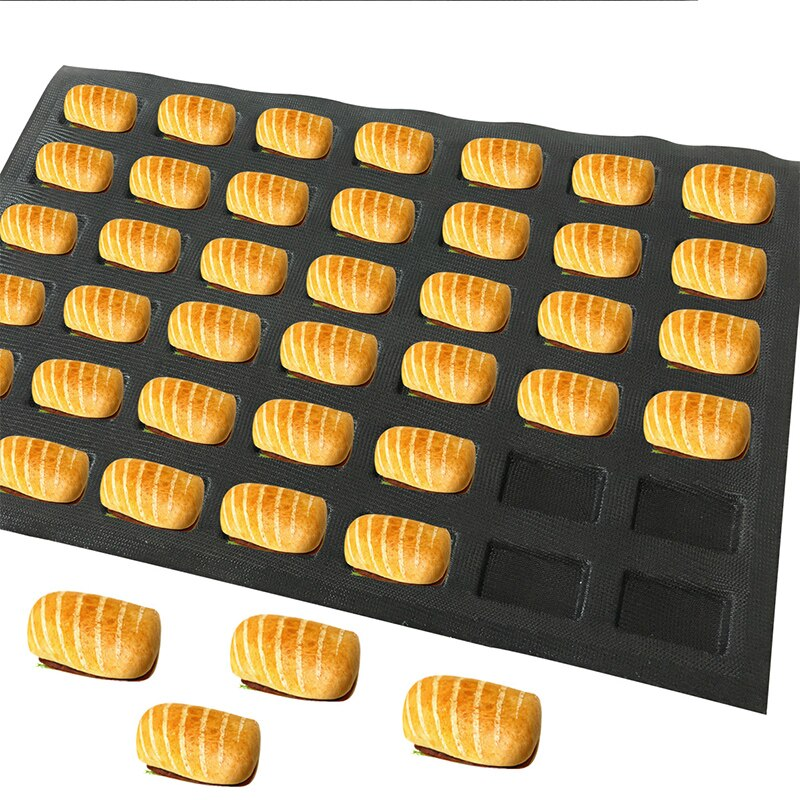 38x55CM sandwich silicone perforated Bread Baking Forms 42 channels bread baking tray woven glass