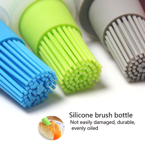 3Color Food-grade High Temperature Easy to Clean 75ml Silicone Brush Barbecue Oil Brush BBQ Tools