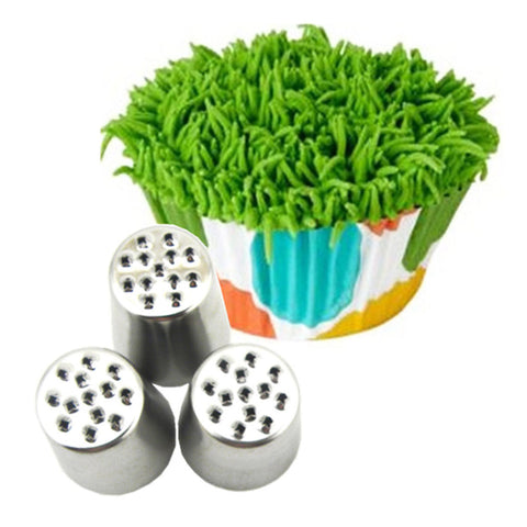 3PC Cake Grass Cream Decoration Tips Set Nozzle Cupcake Head Cake Decorating Tools  Pastry Tools
