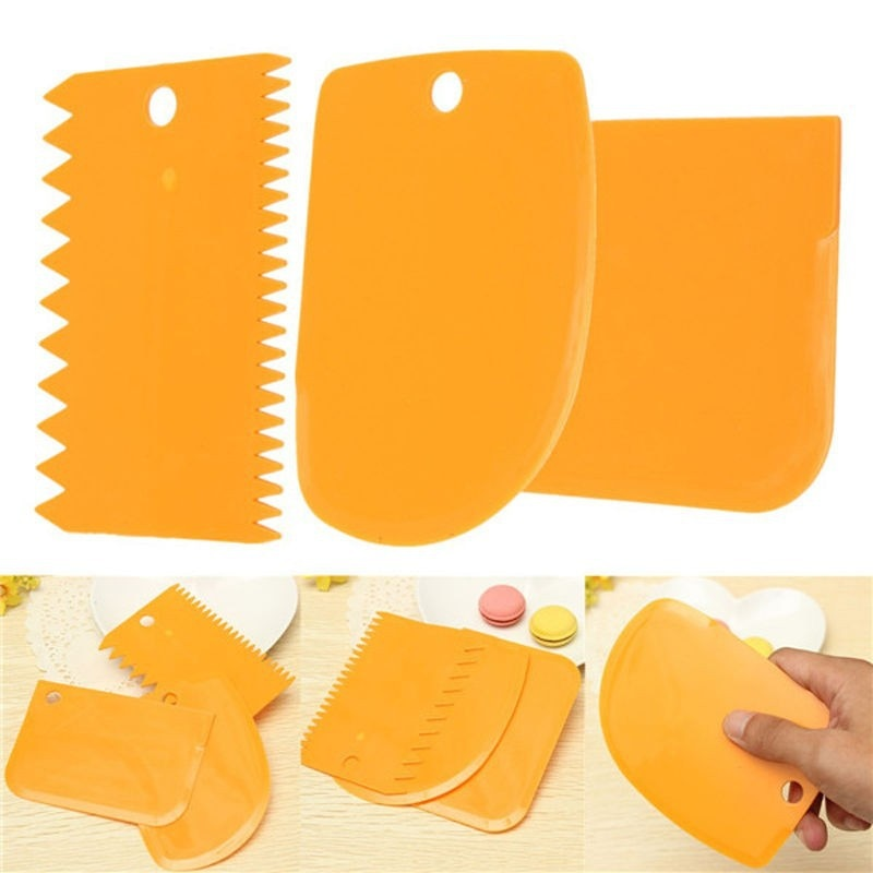 3PCS/Set  High Quality Colorful Multifunctional Irregular Teeth Edge DIY Cream Scraper Set Cake Mold