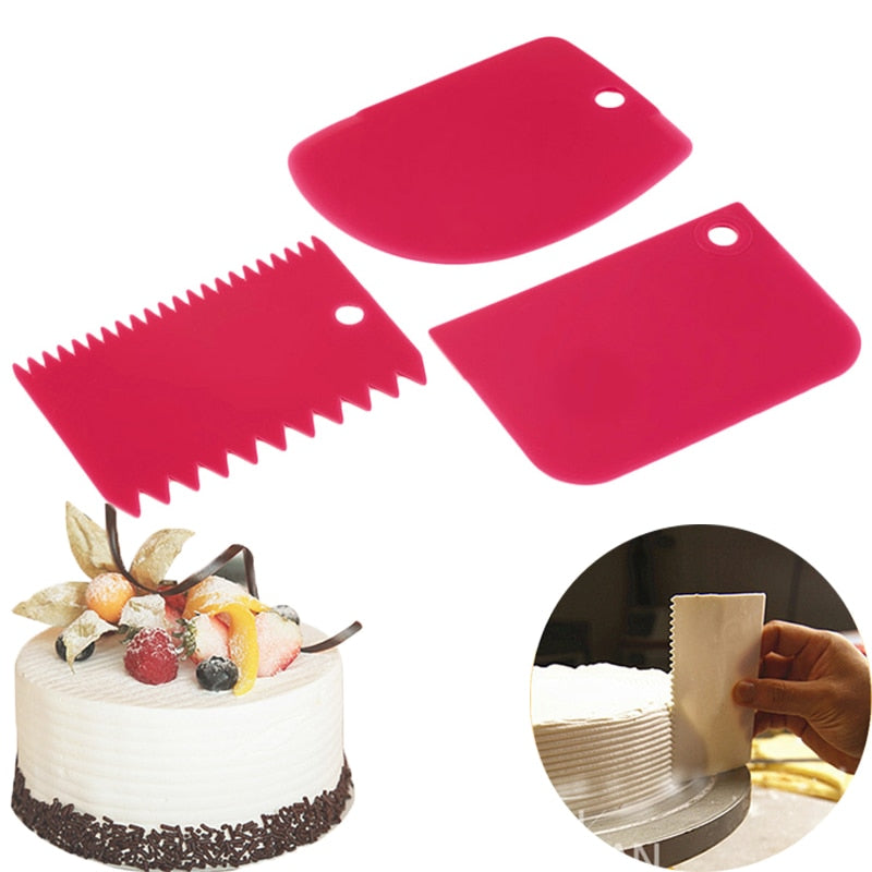 3PCS/Set Hot High Quality Colorful Multifunctional Irregular Teeth Edge DIY Cream Scraper Set Cake
