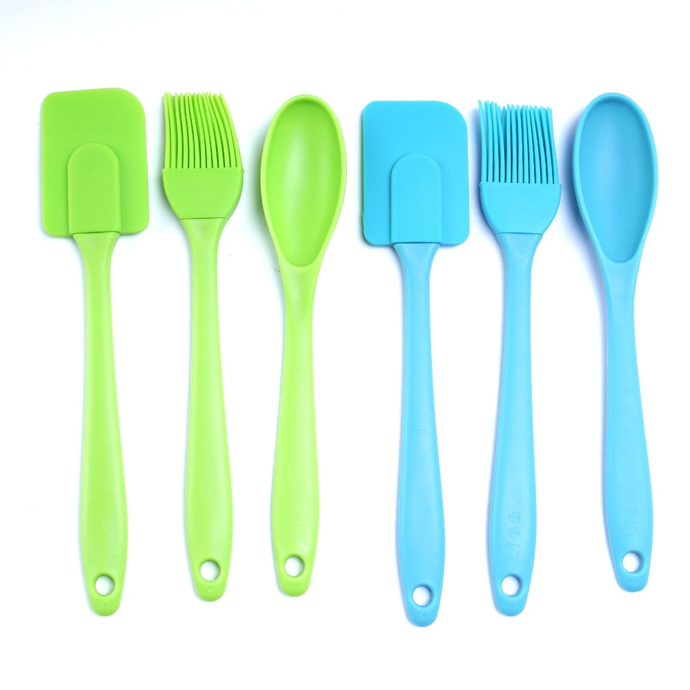 3PCS Silicone Cake Cream Spatula Spoon Brush Set Cooking Utensil Tool Chocolate Cookie Baking Pastry