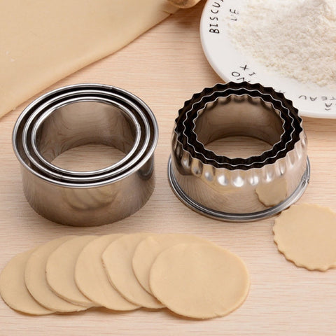 3Pcs Cookie Pastry Maker Portable Dumplings Cutter Stainless Steel Dough Cutting Tool Round/Flower