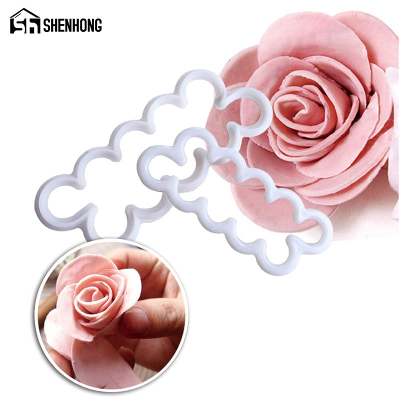 3Pcs/Set 2016 New Rose Flower Cake Mold Cookie Cutter Fondant Cake Decorating Tools Sugarcraft