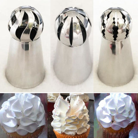 3Pcs/lot Stainless Steel Russian Ball Torch Nozzles Flower Fondant Icing Piping Tips Cream Pastry