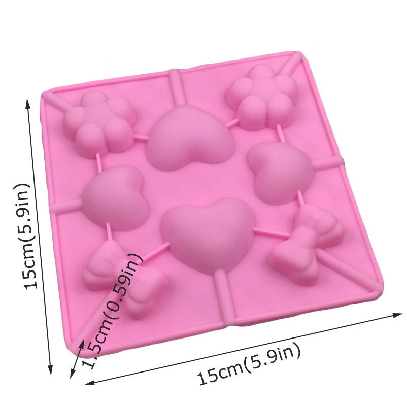 3d Lollipop Mold Heart Cake Pops Maker Candy Bar Chocolate Mold Ice Cube Pastry Accessories Baking