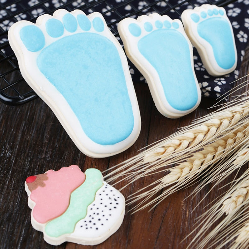 3pc Foot Metal Cookie Cutter  Biscuit Pastry Fondant Cutter Baby Shower Party Favor Shoe Feet