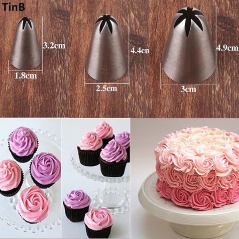 3pcs Rose Flower Ice Cream Piping Tip Nozzle Cake Decorating DIY Pastry Tool Cream Cake Icing Piping