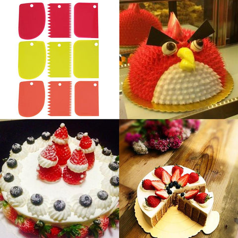 3pcs/set Cake Scraper Fondant Decorative Tool Blade Cake Cream Smoother Spatula Cutter DIY Baking
