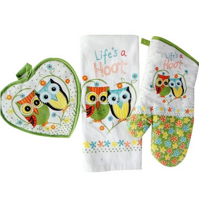 "3pcs/set  Cotton Owls Oven mitt Towel insulating Mat Kitchen and Barbecue accessories ""Life's a"