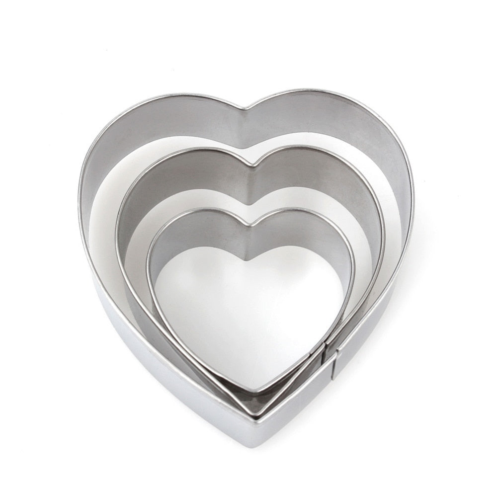 3pcs/set Heart Shape Cookie Cutter Cake Decorating Tools Fondant Sugarcraft Candy Cupcake Biscuit