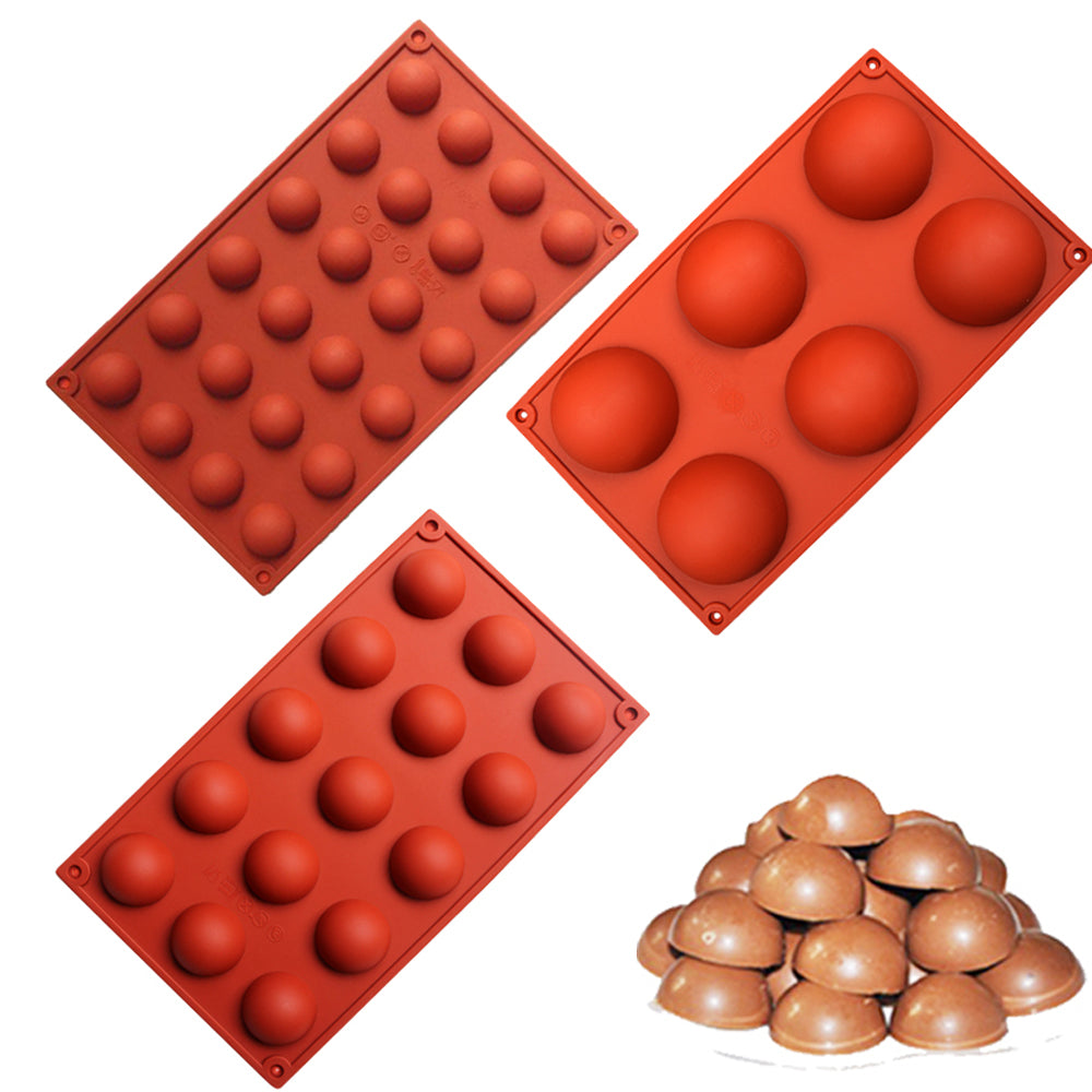 3 Size Hemispheres Shape Silicone Mold for Chocolate Candy Ice Cube Maker Molds for Baking Biscuit