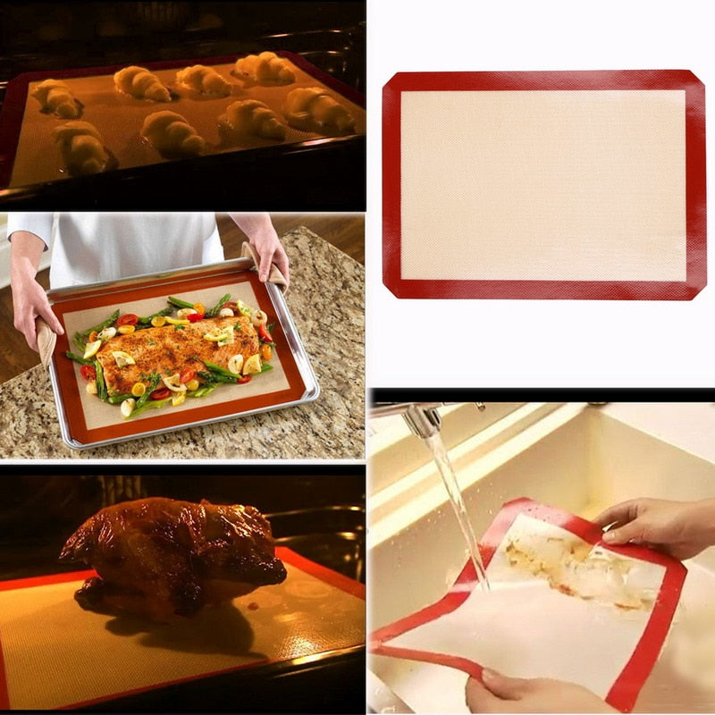 4 Size Cooking Silicone Mat Non-Stick Silicone Baking Pad For Cake Cookie Macaron Oil Proof Baking