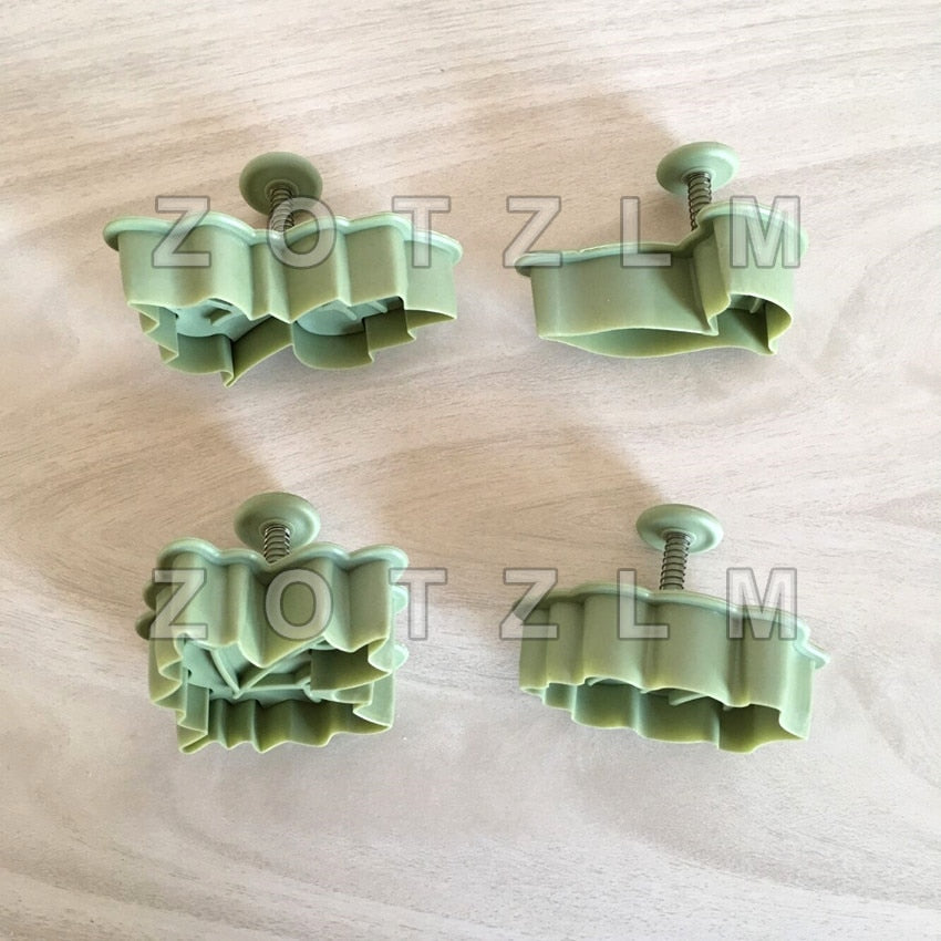 4 pcs/set 4 Kinds Of Leaf Shape Plastic Cookie Cutters Set Pastry Cake Biscuit Mold Spring Plunger