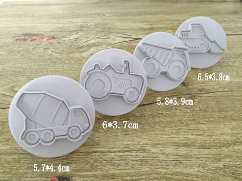 4 pcs vehicles cookie cutter cupcake pastry DIY decorating tools cake biscuit sugarcraft baking mold