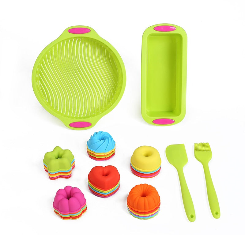 40 Piece Bakeware Set Baking Round Cake Mold and Loaf Pan Silicone Egg Muffin Cups Donut Baking Pans