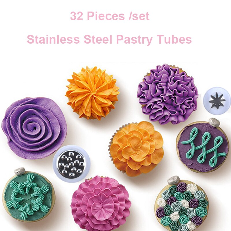 40 Pieces/set Stainless Steel Nozzle Set Pastry Tubes Baking Tools Decoration Cakes Nozzles Set