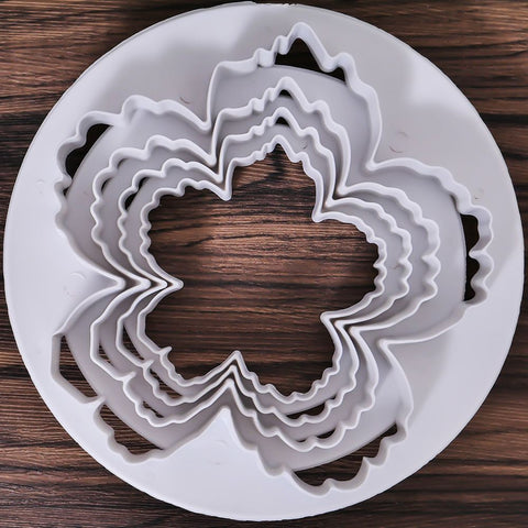 4PCS Peony Petals Pattern Flower Plastic Paste Cake Press Mold Set Cookie Sugar Fondant Cutter Cakes