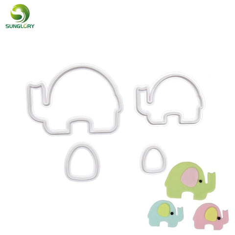 4PCS/SET Animal Elephant Cookie Cutter Chocolate Biscuit Mold Fondant Cutters Pastry Bakeware