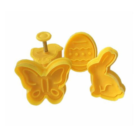 4Pcs Easter Bunny Pattern Plastic Baking Mold Kitchen Biscuit Cookie Cutter Pastry Plunger 3D Die