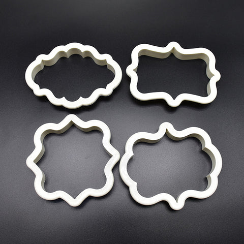 4Pcs/Lot Vintage Plaque Frame Cookie Cutter Set Plastic Biscuit Mould Fondant Cake Decorating Tools