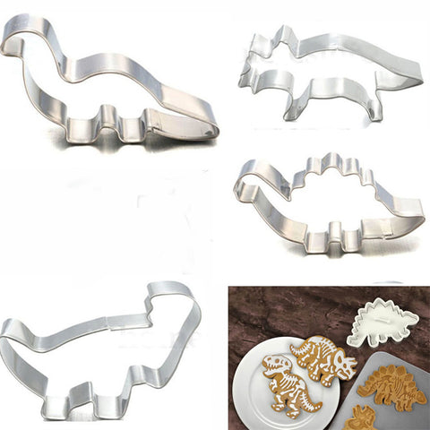 4Pcs/Set Stainless Steel Dinosaur Animal Fondant Cake Cookie Biscuit Cutter Decorating Mould
