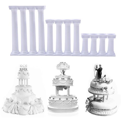 4Pcs/Set White Grecian Pillars Valentine's Day Cake Tier Separator Support Stand Decor Wedding