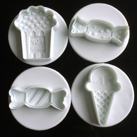 4Pcs/set candy makeup mirror Shape Fondant cutter plastic cake/cookie/buscuit cutter plunger mold