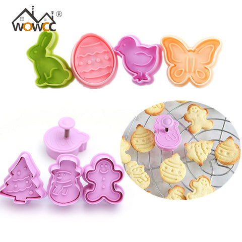 4pcs Cookie Stamp Biscuit Mold Snowman Cookie Plunger Cutter Easter Rabbit Egg Biscuit Mold