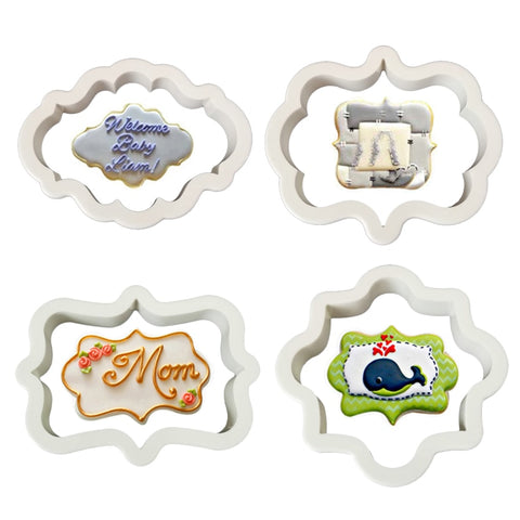 4pcs Eco-Friendly Plastic Vintage Plaque Frame Cookie Cutter Set Plastic Biscuit Mould Fondant