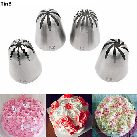 4pcs/Set Large Cake Cream Nozzles Icing Piping Nozzles Pastry Tools Stainless Steel Cupcake
