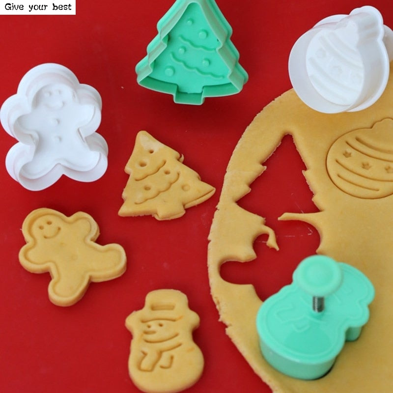 4pcs Stamp Biscuit Mold 3D Cookie Plunger Cutter Pastry Decorating DIY Food Fondant Baking Mould
