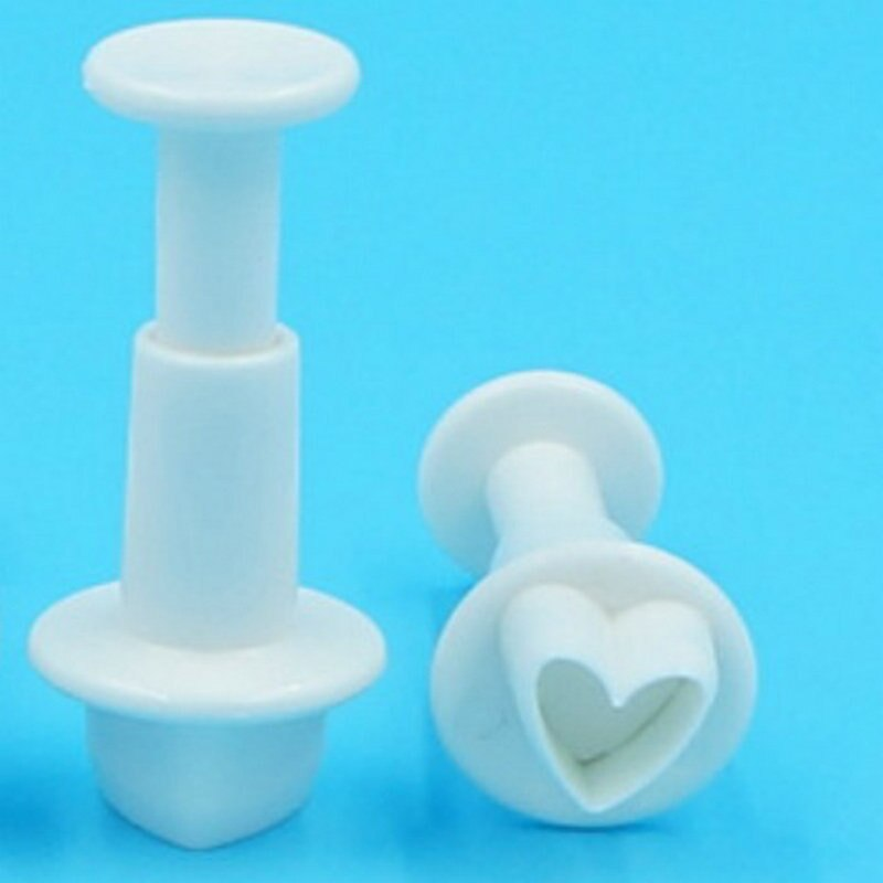 4pcs/set Heart Plunger Fondant Cutter Plastic Cookie Cutter Sugarcraft Mold Cake Decorating Tools