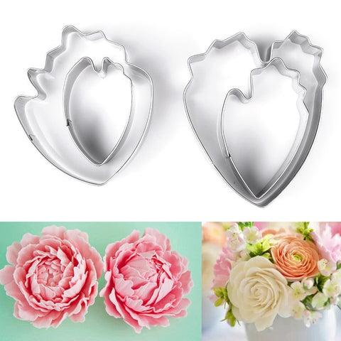 4pcs/set Peony Flower Cookie Cutter Set 3D Sugarcraft Fondant Cake Pastry Biscuit Baking Mold DIY