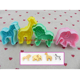 4pcs/set Wild Animal Plunger Cutters Fondant Cake Mould 3D Cookie Cutter Pastry Biscuit Baking
