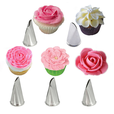 5 Pcs/Set Icing Piping Nozzles Rose Petal Cake Decorating Tips Russian Baking Stainless Steel